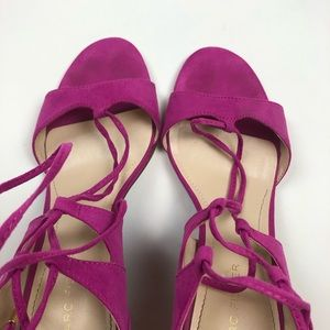 Marc Fisher Shoes - Marc Fisher Fuchsia Ballad Lace Up Suede Sandals